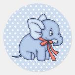 Azul del juguete del elefante pegatinas redondas
