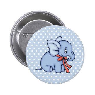 Azul del juguete del elefante pin redondo 5 cm