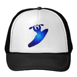 Azul del kajak agujereado gorras