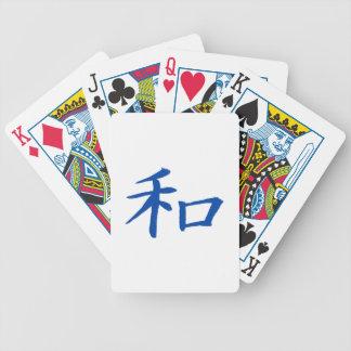 Azul del kanji de la paz baraja cartas de poker