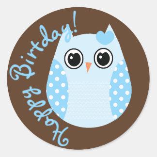 Azul del KRW y pegatina del búho del cumpleaños de