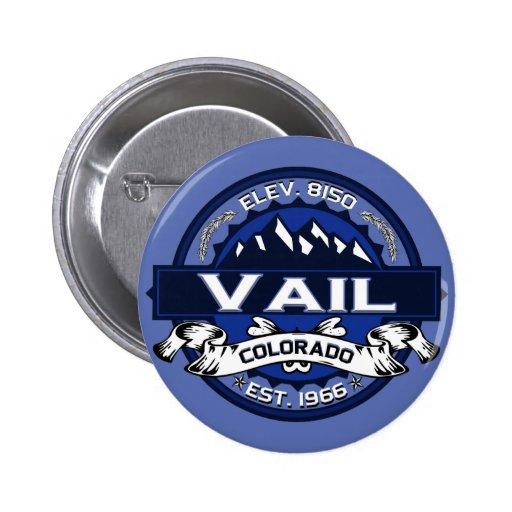 Azul del logotipo de la ciudad de Vail Pin Redondo De 2 Pulgadas