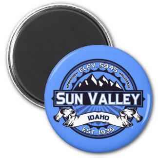 Azul del logotipo de Sun Valley Imán Redondo 5 Cm