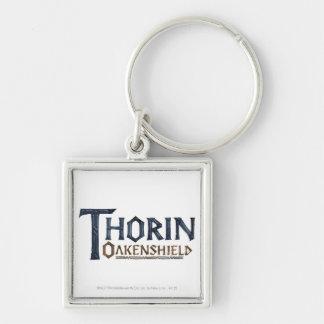 Azul del logotipo de THORIN OAKENSHIELD™ Llavero Cuadrado Plateado