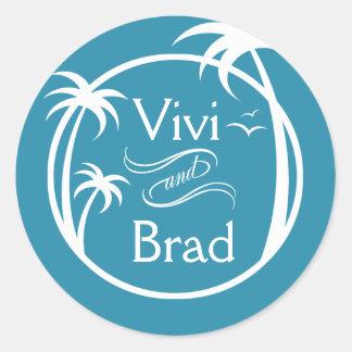 Azul del logotipo el | de la palma de la resaca de etiquetas redondas