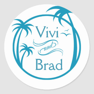 Azul del logotipo el | de la palma de la resaca de etiqueta redonda