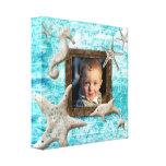 Azul del mar de la plantilla de la foto de la impr impresiones en lona