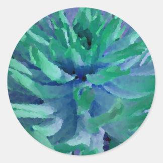 Azul del mar, verde del océano, dalia, floración pegatinas redondas