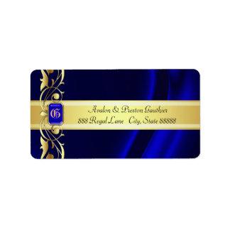 Azul del marqués y etiquetas de dirección de seda