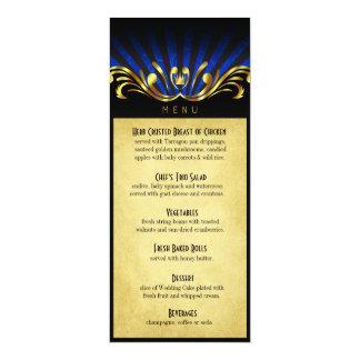 Azul del menú de la cena de Nouveau Vegas del arte Invitacion Personalizada