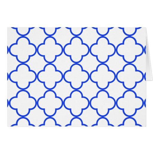 Azul del modelo 1 del trébol tarjeta de felicitación