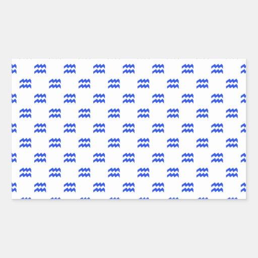 Azul del modelo del acuario pegatina rectangular