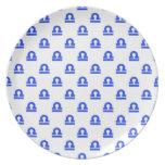 Azul del modelo del libra plato para fiesta