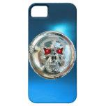 Azul del MONOGRAMA de los JINETES del CRÁNEO iPhone 5 Case-Mate Carcasa