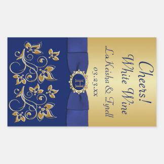 Azul del monograma, etiqueta autoadhesiva floral