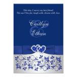 Azul del monograma, invitación floral de plata del invitación 12,7 x 17,8 cm