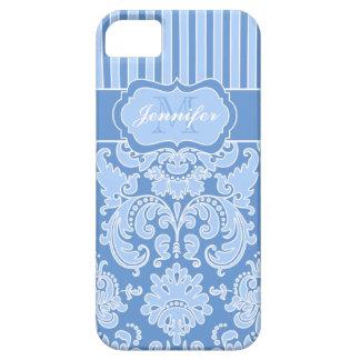 Azul del monograma, iPhone rayado blanco 5 del dam iPhone 5 Case-Mate Coberturas