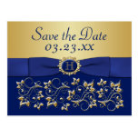 Azul del monograma, reserva floral del oro la post tarjeta postal