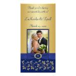 Azul del monograma, tarjeta floral de la foto del  tarjeta personal con foto