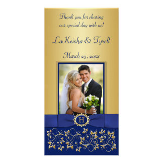 Azul del monograma tarjeta floral de la foto del tarjeta personal con foto