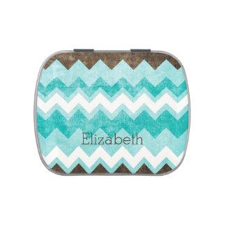 Azul del monograma y lata del caramelo del modelo  jarrones de caramelos