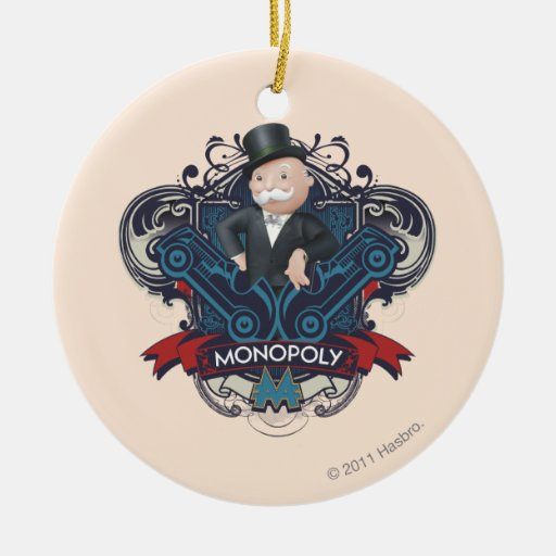 Azul del monopolio adorno navideño redondo de cerámica