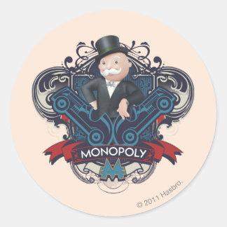 Azul del monopolio pegatina redonda