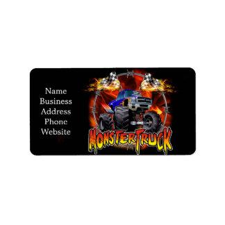 Azul del monster truck en el fuego etiqueta de dirección