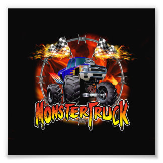 Azul del monster truck en el fuego fotografía
