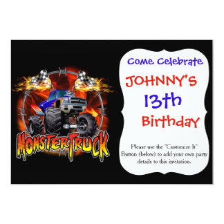 """Azul del monster truck en el fuego invitación 5"""" x 7"""""""
