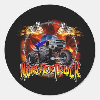 Azul del monster truck en el fuego pegatina redonda