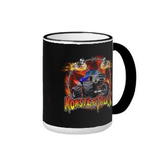 Azul del monster truck en el fuego taza de dos colores