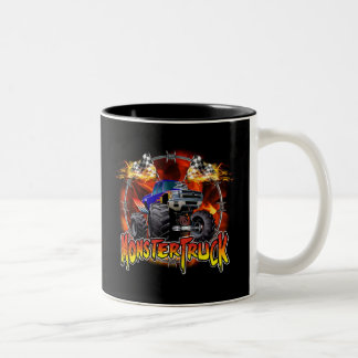 Azul del monster truck en el fuego taza de dos tonos