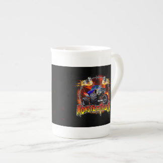 Azul del monster truck en el fuego taza de porcelana