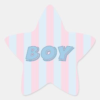 Azul del muchacho con las rayas rosadas pegatina en forma de estrella