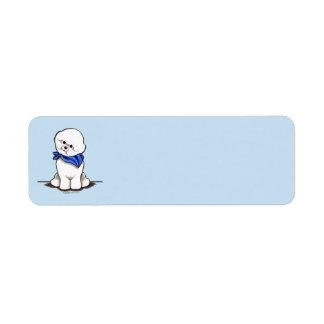 Azul del muchacho de marinero de Bichon Frise Etiquetas De Remite