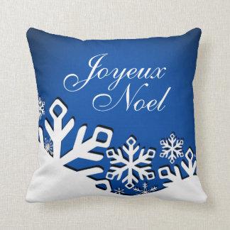 Azul del navidad el | de Joyeux Noel de la ciudad Cojín