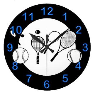 Azul del negro del tiempo del tenis reloj