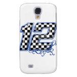 azul del número 12 el competir con auto