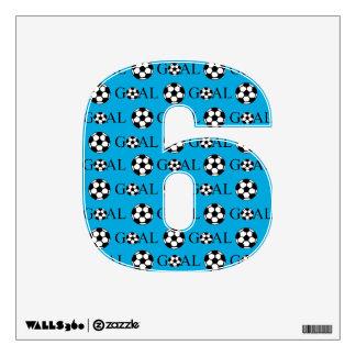 Azul del número 6 de la meta del fútbol vinilo decorativo