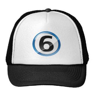 Azul del número 6 gorros