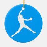 Azul del ornamento w/Name de Fastpitch Ornamentos De Navidad