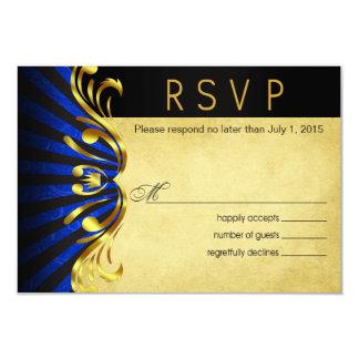 """Azul del oro de Nouveau Vegas RSVP el   del arte Invitación 3.5"""" X 5"""""""