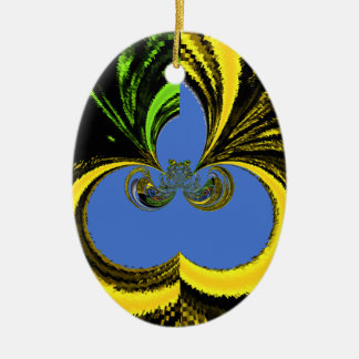Azul del oro adorno ovalado de cerámica
