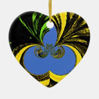 Azul del oro adorno de cerámica en forma de corazón