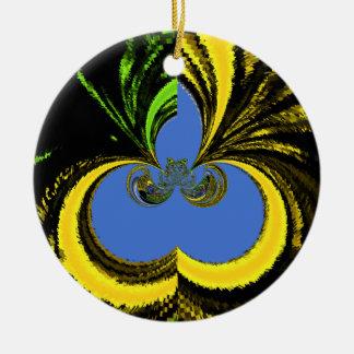 Azul del oro adorno redondo de cerámica