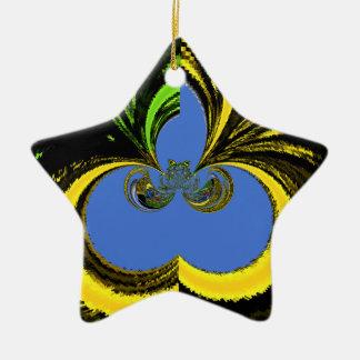 Azul del oro adorno de cerámica en forma de estrella