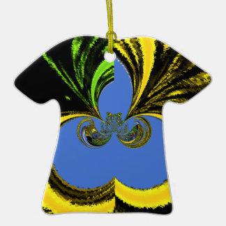 Azul del oro adorno de cerámica en forma de camiseta