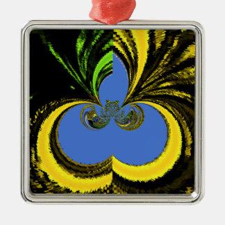 Azul del oro adorno cuadrado plateado