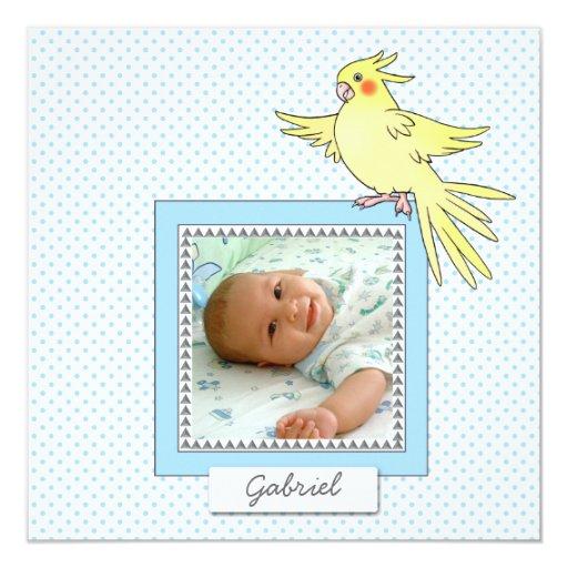 Azul del pájaro de la foto del bebé - invitación invitación 13,3 cm x 13,3cm